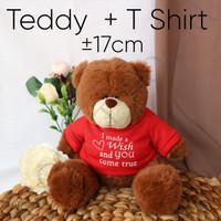 Teddy + T Shirt - Boneka Wisuda - Boneka Natal - Graduation - Beruang