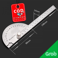 Penggaris Jangka Roundhead Measuring Ruler Aluminium 14.5cm 180 Degree