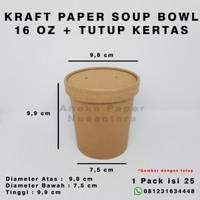 Paper Bowl + Lid Kraft Paper Food Grade - 16 Oz