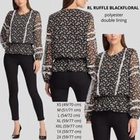 Baju Branded Wanita - LAUREN RUFFLE BLACKFLORAL