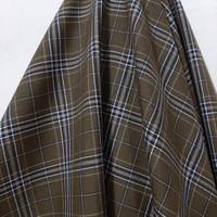 Kain Kotak Semi Wool ( Coklat Garis Cream Hitam/ Putih )