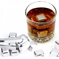 Es Batu Stainless Reusable Stainless Steel Ice Cube - 4 Pcs, Silver