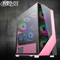 Enlight RAMPAGE Tempered Glass Gaming Case - Pink / Merah Muda