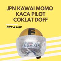 HELM JPN KAWAI MOMO KACA PILOT ORIGINAL MURAH LARIS - COKLAT DOFF