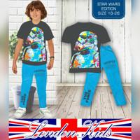 (8-13th) Setelan Anak Laki London Kids Kaos Starwar Celana Panjang