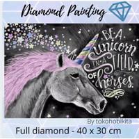 DIY DIAMOND PAINTING FULL LUKISAN TEMPEL MANIK UNICORN WORDS