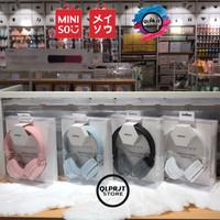 HEADPHONE MINISO Foldable Wired Headset Headphone Original - Merah Muda