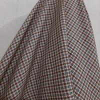 Kain Kotak Semi Wool ( Warna Cream Garis Coklat-Hitam )