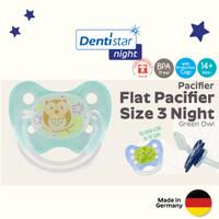 Dentistar Flatshield Orthodontic Night Pacifier Empeng 14 bln ke atas - Green Owl