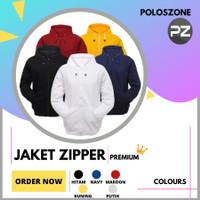 Jaket Sweater Hoodie Zipper Polos PREMIUM Pria Wanita - Abu Tua, M