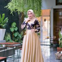Model Gamis Batik Kombinasi Kain Polos Mudah