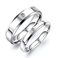 cincin couple titanium gratis ukir nama dan kotak love - silver2 1eye