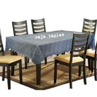 taplak meja makan plastik 4 - 6 kursi waterproof anti air persegi - Abu-abu, 137x180cm