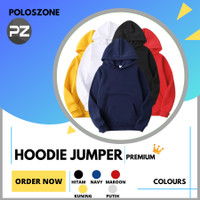Jaket Sweater Hoodie Jumper Polos PREMIUM Pria Wanita - Abu Tua, M
