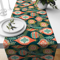TABLE RUNNER TAPLAK MEJA NATAL CHRISTMAS GREEN ORANGE BELL