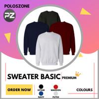 Sweater Basic Polos PREMIUM Cotton Fleece Pria Wanita - Abu Tua, M