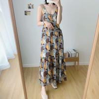 Gaun Long Dress Korea Yellow Canary Pattern Import F-513504