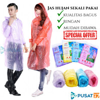 JAS HUJAN PLASTIK SEKALI PAKAI / JAS HUJAN PONCHO DISPOSABLE EMERGENCY