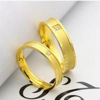 cincin couple titanium gratis ukir nama dan kotak love - golden 1eye