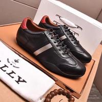 Sepatu Sneakers Pria Branded Bally Kulit Black Original Mirror