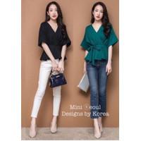 blouse wanita lengan pendek korean style kekinian terbaru murah