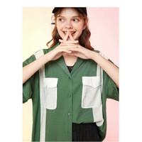 Baju Atasan Blouse Korea Green Two Pocket Import F-513180
