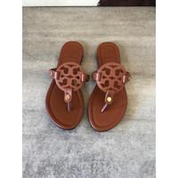 ToryBurch Miller Sandals Brown / Tb Miller Flat Sandal - ORIGINAL FO