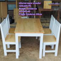 Meja Kursi Kayu solid jatilanda - Meja makan meja restoran cafe vernis