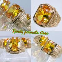 Batu Cincin Permata Yellow Topaz / Citrin Quartz Zirconia