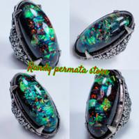 Batu Cincin Akik Black Opal Tim tim / Kalimaya Hitam Multicolor