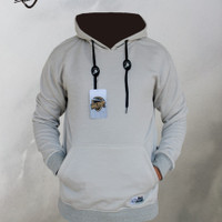 SWEATER HOODIE PRIA POLOS OBLONG M L XL - misty, M