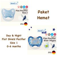 Dentistar Flat Shield Pacifier Day & Night for Baby 0-6 months Empeng - Heart + Bear