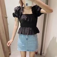 Baju Atasan Blouse Korea Black Puffy and Streechy Import F-513225