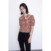 Baju Atasan Blouse Korea Red Cherry Mix Lacey sz M Import F-513612
