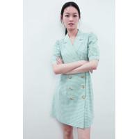 Mini Dress Korea Sexy Green Small Grid Import F-513261