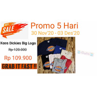 Kaos Dickies Big Logo Graphic T-Shirt Full Sablon - Hitam, S