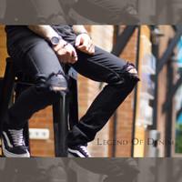 Celana Jeans Pria Skinny Biker Motor Ripped Knee Rips Sobek - Hitam, 28