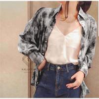 ONNIEFASHION Tie Dye Top Marble Casual Outfit Kemeja Wanita Abstrak