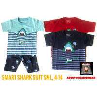 Setelan kaos baju anak laki baby SHARK lucu grosir murah premium