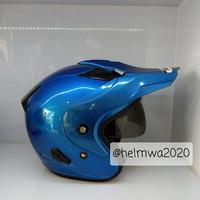 helm half face MDS double visor polos BL