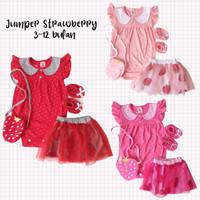 Jumper Baju Bayi Perempuan Strawberry Rok Tutu Set 4in1