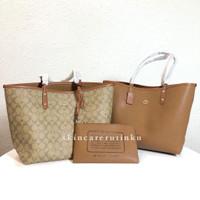 Coach Reversible Tote Bag In Signature Brown - ORIGINAL 100%