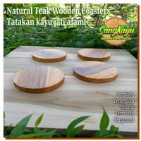 Teak wooden Coaster 10 Cm tatakan gelas kopi cangkir mug kayu jati