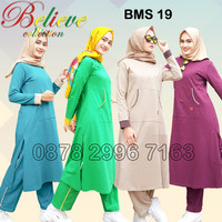 Setelan Baju Olahraga Wanita Muslim Believe BMS 19 / Baju Senam