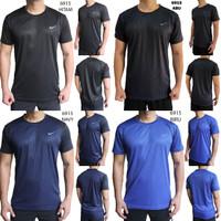 Kaos Olahraga Pria NIKE 6915 Fitness Futsal Gym Running Lari Import - Hitam, M