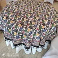 Taplak Meja Makan Bulat Batik Cap 6 Kursi