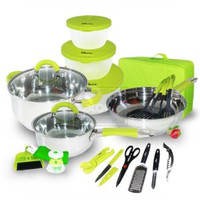 022H Panci Travel Cookware Set 23 Pcs Oxone OX-992 (HIJAU)