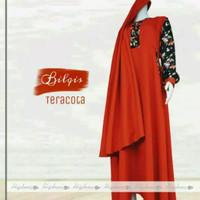 Bilqis by Hijabuna Gamis Baloteli Polos Kombinasi Motif Bunga