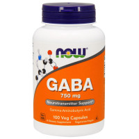 Now Foods Suplemen Gaba 750mg Neurotransmitter Support isi 100 Veg Cap