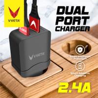 VYATTA Dual Port 2.4A Fast Charger - GARANSI 12 BULAN TANPA BATAS